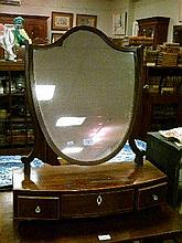 George III mahogany and string inlaid shield shaped dressing table mirror having bowfront box base fitted three drawers