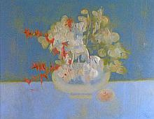 Richard Ewen - Oil on canvas - Still-life with flowers, entitled 'Life And Death', signed and dated 1968 (A.R.)