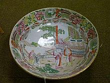 19th Century English transfer printed bowl decorated with courtly figures and having overpainted enamel decoration