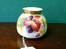 Royal Worcester squat vase by Kitty Blake, painted with blackberries and blossom on an ivory ground, base with shape number 158 and date code for 1933