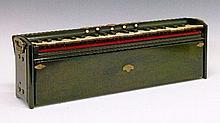 19th Century 'Harmonina' hand operated portable harmonium by Alexandre-Francois Debain, brass mounted ebonised case with five stops, with original bla