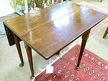 George III mahogany rectangular two flap tea table standing on tapered pad supports