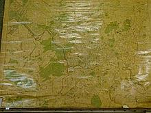 Early 20th Century wall hanging printed paper map laid on canvas - Bristol and Environs