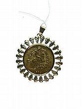 George V half sovereign, 1913, within a hallmarked 9ct gold starburst pendant mount