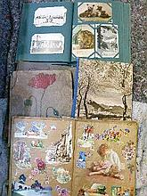 Album containing various postcards together with six vintage scrap albums
