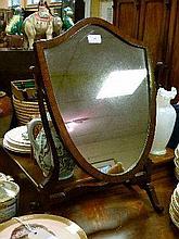 Early 20th Century mahogany framed shield shaped dressing table mirror