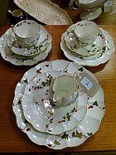 Small quantity of late 19th/early 20th Century English bone china teaware having transfer printed and hand painted vine decoration