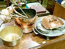 Copper helmet shaped coal bucket, brass preserve pan, pewter warming meat dish etc