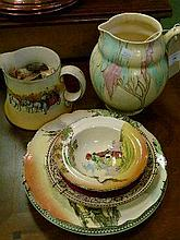 Carlton Ware ovoid shaped jug decorated with pink and turquoise trees against a cream ground together with a small quantity of Doulton series ware etc