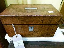 Victorian burr walnut veneered tea caddy having mother-of-pearl inset panel and escutcheon