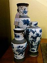 Three early 20th Century Japanese blue and white decorated vases