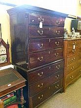 George III mahogany chest on chest having dentil cornice, the upper section fitted two short over three long drawers, the base with three long drawers