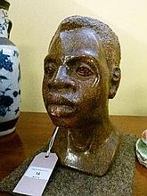 Mid 20th Century carved soapstone bust of an African boy