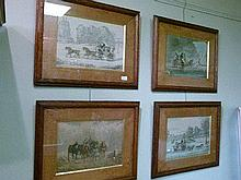 Four 19th Century coaching prints - three having gilt titles to the oak slips depicting Mail Coaches in various weather conditions including 'Thunder