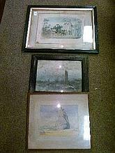 19th Century coaching print 'The Sleepy Gatekeeper' and two watercolours, framed and glazed