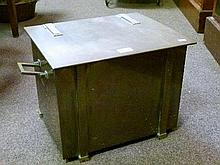 1930's period rectangular brass coal box having hinged cover