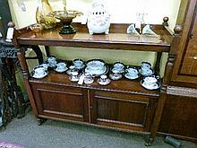 Late Victorian mahogany buffet fitted one shelf with cupboard below