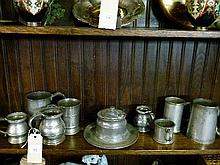 Quantity of 19th Century pewter measures, pewter tankards, inkwell etc