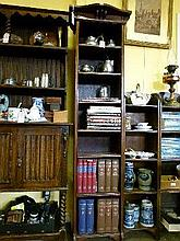 Early 20th Century tall slender oak open bookcase fitted six shelves