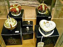 Three modern Royal Crown Derby limited edition paperweights comprising: Queen Mother's Crown, Queen Elizabeth Golden Jubilee Crown and Queen Elizabeth
