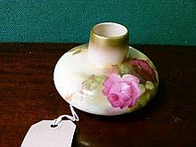 Royal Worcester squat vase painted with roses on a blush ground, shape number 2491, date code for 1919