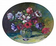 J.Olivier - Oval oil on canvas laid on board - Still life with flowers, signed, framed