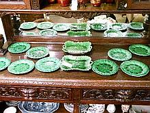 Collection of various green glazed Majolica leaf moulded dessert plates
