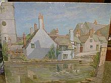 Attributed to Ernest Ehlers (Bristol Savages) - Oil on canvas - A Village scene With Ducks On A River, unsigned, unframed