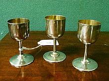 Three George V silver miniature goblets, Sheffield 1911-1914
