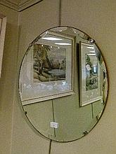 Mid 20th Century circular bevelled glass wall mirror