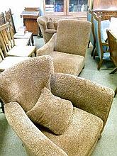 Modern three piece suite comprising: day bed and two armchairs, having leopard print upholstery