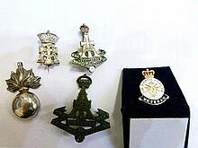 Enamelled base metal Yorkshire regiment badge. Similar cap badge and three other badges
