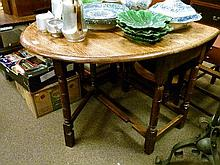 1930's period oak oval gateleg dining table