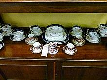 Noritake part coffee set having typical Japan decoration together with an extensive late 19th Century English tea service having transfer decoration o