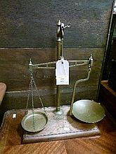 Victorian brass balance, the rectangular mahogany stand having applied transfer 'Repaired by Avery'