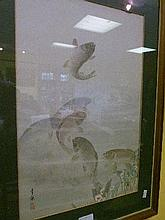 Early 20th Century Japanese watercolour - Koi Carp in a pool, framed and glazed