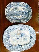 19th Century English blue and white transfer printed meat dish decorated with Arabesque pattern together with a smaller blue and white transfer printe