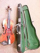 Mid 20th Century violin and bow, cased