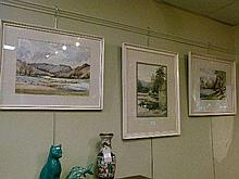 Lucie Errington - Three watercolours - Landscapes, framed and glazed