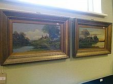 Pair of late 19th/early 20th Century oils on board - Rural landscapes with figure beside a cottage, in gilt frames