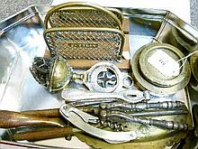 Interesting miscellanea including Festival Of Britain brush, brass letter rack, brass weights, nutcrackers etc