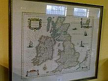 After Blaeu, late 20th Century facsimile map of Great Britain and Ireland, framed