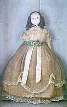 19th Century wax head doll, probably English, having blue glass eyes, curled hair and lace trimmed dress, in a glass fronted case