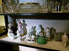Quantity of Continental and other ceramics including character teapot, fairing and small coffee pot having applied floral encrusted decoration with un