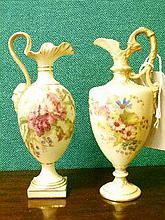Two Royal Worcester blush ware ewers, each having floral decoration, shape numbers 789 and 1144, date code for 1903 and 1912