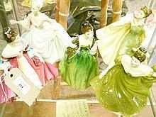 Five Royal Doulton figures  - Diana Hn.3266, Alexandra Hn.2398, Fleur HN.2368, Lynne HN.2329 and Southern Bell HN.2229