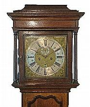 George III mahogany crossbanded oak long case clock by William Short of Cirencester, the hood with moulded cornice, square glazed door flanked by tape