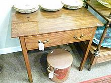 George III walnut rectangular top side table, fitted one drawer to the frieze and standing on square moulded supports