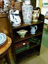 1930's period stained oak open bookcase fitted three shelves
