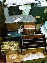 Four assorted boxes and a mahogany and string inlaid letter rack